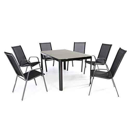 Nexos 7-Teiliges Gartenmöbel-Set – Gartengarnitur Sitzgruppe Sitzgarnitur aus Stapelstühlen & Spray-Stone-Glastisch – Aluminium Kunststoff Glas – Schwarz Grau