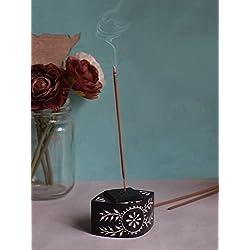 Store Indya, Mano Negro Natural tallado de piedra de jabon del sostenedor del cono varilla de incienso Ash Catcher perfumes para el hogar Accesorios con tallas florales