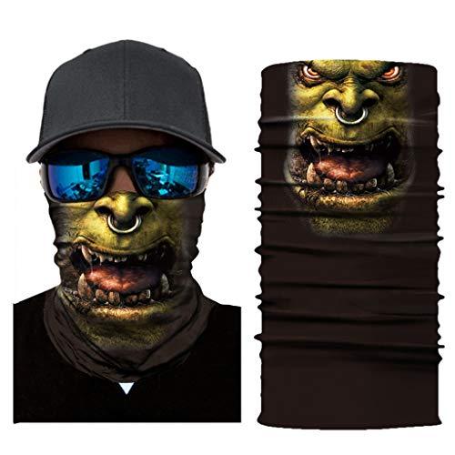 99native Bedrucktes Multifunktionstuch Bandana Halstuch | Sturmmaske | Schlauchtuch | Halstuch für Motorrad Fahrrad Ski Paintball Gamer Karneval Kostüm 3D Tiere Maske (D) (Kostüm Von Tieren)