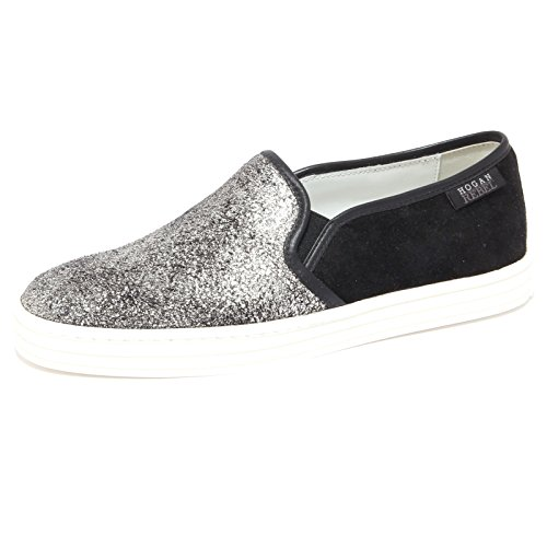 6534Q sneaker donna HOGAN REBEL SLIP ON nero/argento shoe woman [38]