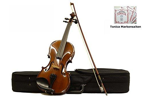 Sinfonie24 Geige Violine Größe 4/4 für Einsteiger, Hamburger Geigenbau Manufaktur, (Basic II) Set mit Koffer, Bogen und Kolophonium, palisanderfarbend, spielfertig eingerichtet mit Markensaiten