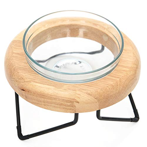 Dog Bowl Elevated Pet Feeder, Single Feeder Raised Dog Feeder Glass Dog Bowl with Wooden Frame Dog Cat Bowl