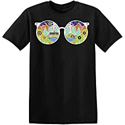 Cool Hippie Sunglasses Reflecting Nature Men's T-shirt Camiseta para hombre Large
