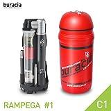 buracia, Kit antiforatura Compatto. Serie RAMPEGA MOD. #1 C1. Officina Tascabile, riparazioni Biciclette Parti di Ricambio. MTB & E-Bike. Compatibile con Tutti i portaborracce. Made in Italy.