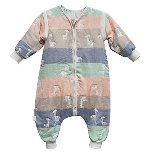 DaiShuGuaiGuai Baby Ganzjahres Schlafsack mit Füßen (Mehrfarbig) (Giraffe) (L 85-95CM)