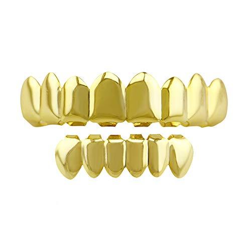 ZTWYT Hip Hop Schmuck Gold Zahnspange Gold Plating Glänzende Acht Gold Zahnspange Zähne Grils Gold 8 Top Und 6 Bottom Hip Hop (Farbe : Gold) -