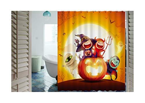 DOLOVE Badvorhang Vintage 3D Duschvorhang 165X180 Halloween Kürbis Polyester Duschvorhang Waschbar Antischimmel