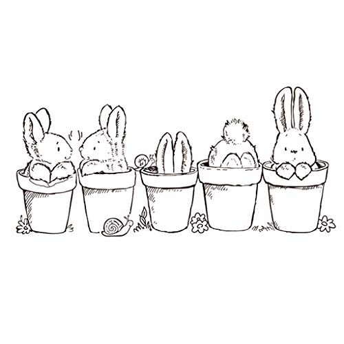 ECMQS Ostern Hase Eingemacht Pflanze DIY Transparente Briefmarke, Silikon Stempel Set, Clear Stamps, Schneiden Schablonen, Bastelei Scrapbooking-Werkzeug