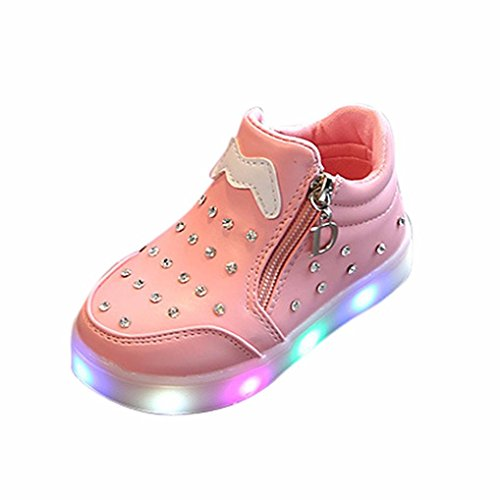 TPulling Mode Sommer Und Frühling﹛1T-6T﹜Kinder Mode Mädchen Jungen﹛Leuchtend LED Rutschfeste﹜Sport Lichter Blinkende Weichen Boden Tanzschuhe Schuhe Turnschuhe Lässige Schuhe (Rosa, 23=EU:22)