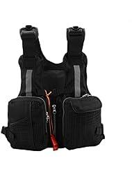 Gilet de Sauvetage Pêche Veste de Vie Adultes Multi-poches avec Sifflet et Rayure Réfléchissante pour Pêche Kayak Sports Nautiques