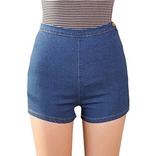 Minetom Femmes Vintage D'Été Denim Taille Haute Jeans Glissière Latérale Courtes Jeans Hot Shorts Bleu foncé