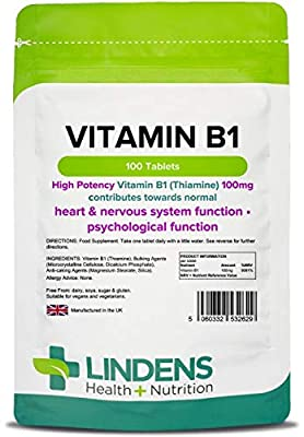 Vitamin B1 100mg /100 Tablets by Lindens