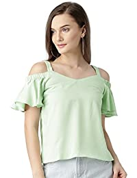 f7441d7beb13da Marie Claire Women Green Self-Design Bardot Top (MC666)
