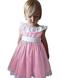 Mitlfuny Primavera Verano Ropa Niñas Bebé Princesa Vestidos de sin Manga  Arco Cinturón Rayas Vestido Fiesta c26a8bf847f