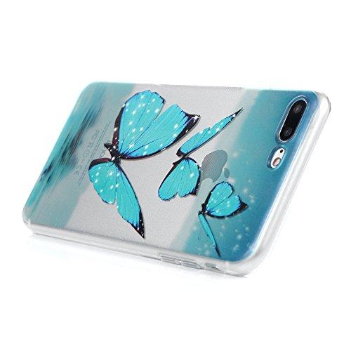 iphone 7 plus Coque Transparente de Dessin Original en TPU Souple Case Cover Personnalisé - MAXFE.CO Plume Blanc Papillon Bleu