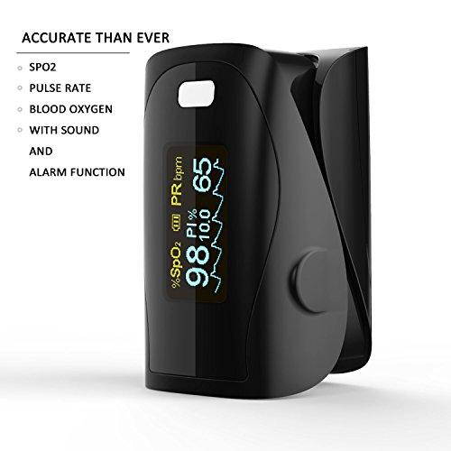 Finger Pulsoximeter, Blut Sauerstoff SPO2-Sättigung Monitor Messen Präzise Für Medizinische Und Täglichen Sport Herzfrequenzmesser Rate Alarm- CE Geprüft - Gespiegelt Schwarz By PRCMISEMED PRO-F9