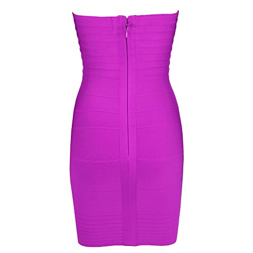 HLBandage Women's Rayon Strapless Stretch Party Bandage Dress Violet