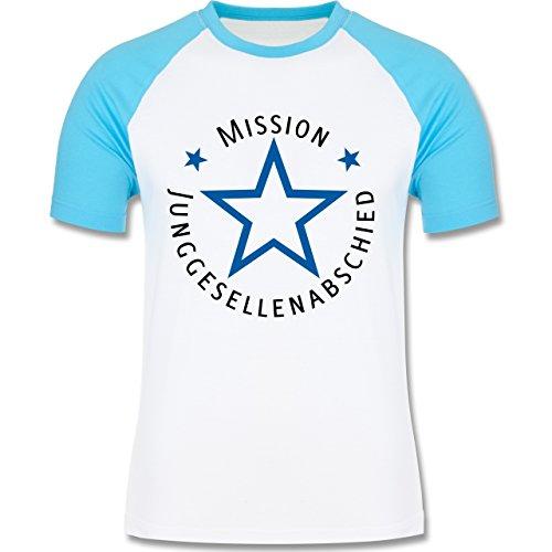 JGA Junggesellenabschied - Mission Junggesellenabschied - zweifarbiges Baseballshirt für Männer Weiß/Türkis