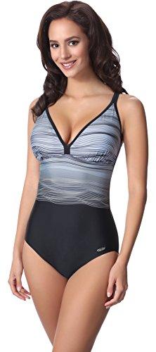 aQuarilla Damen Badeanzug AQ103(Schwarz/Grau, 48) (Badeanzug Weibliche Plus Size Kostüme)