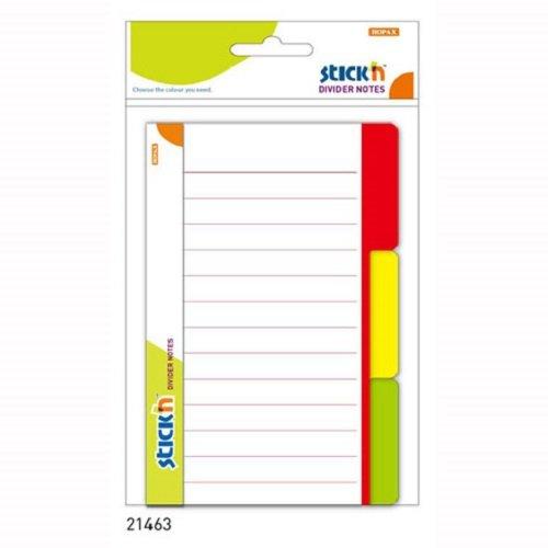 Przekladki samoprzylepne biale 100x150mm, 3 kolory indeksów