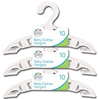 30x White Small Clothes Hangers For Baby & Toddler Clothes