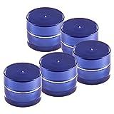 5 Stück Packung - 5ml Leertiegel PARIS blau mit Silberrand mit Schraubdeckel und Abdeckscheibe - Leerdose - Döschen