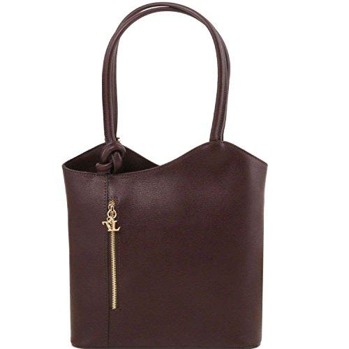 Tuscany Leather - Patty - Sac en cuir Saffiano convertible en sac à dos - Marron foncé