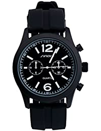 Sinobi color negro correa de silicona reloj deportivo cuarzo relojes hombres hombre Teenage niños relojes