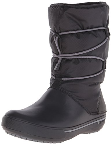 Crocs Crocband II.5 Cinch Boot Women, Damen Warm gefüttert Schneestiefel Halbschaft Stiefel, Schwarz (Black/Charcoal 070), 38-39 EU Womens Cinch