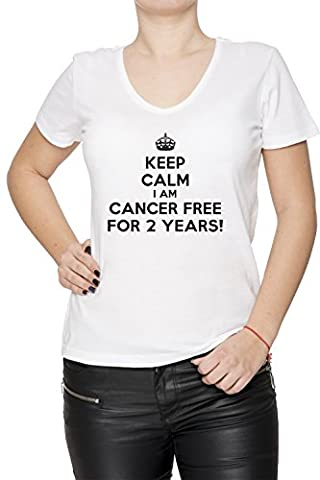 Keep Calm I Am Cancer Free For 2 Years Blanc Coton Femme V-Col T-shirt Manches Courtes White Women's V-neck T-shirt