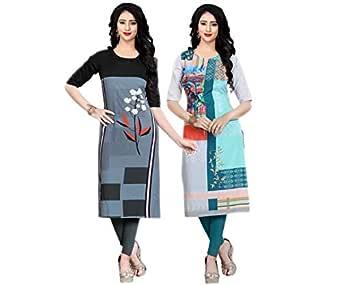 Navlik Women's Crepe Stitched Kurti Combo Pack of 2 FT-16 (Black & Blue) Size; Small