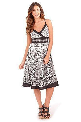 Pistachio Paisley Riemchen Midi Damen Sommer Damen Crossover V Ausschnitt Kleid - schwarz / weißes Blumenmuster, M 40-42 (Paisley-v-ausschnitt-kleid)