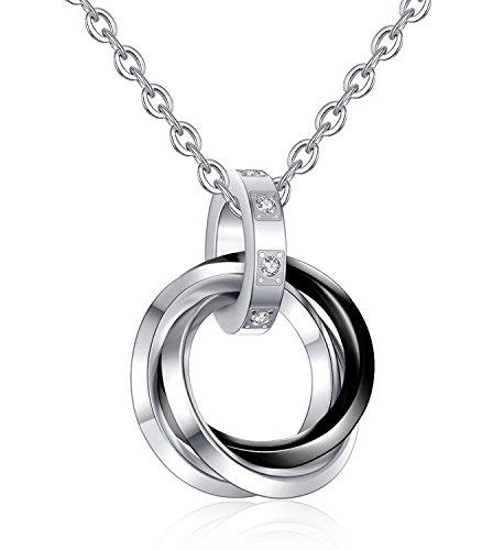 BE STEEL Schmuck Edelstahl Triple Paare Ring Anhänger Halskette für Herren und Damen Paar Kette - Ring Versprechen Herren Gold