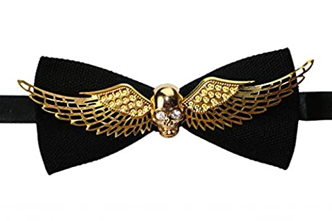 OCIA Men's Gold Skull And Wings Manual Personalized Metal Bow