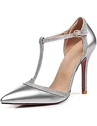dd9cb98cde1f2 Rongzhi Femmes Aiguille Bride Cheville Sandales Escarpins Robe Partie  Talons Hauts Bout Pointu Chaussures