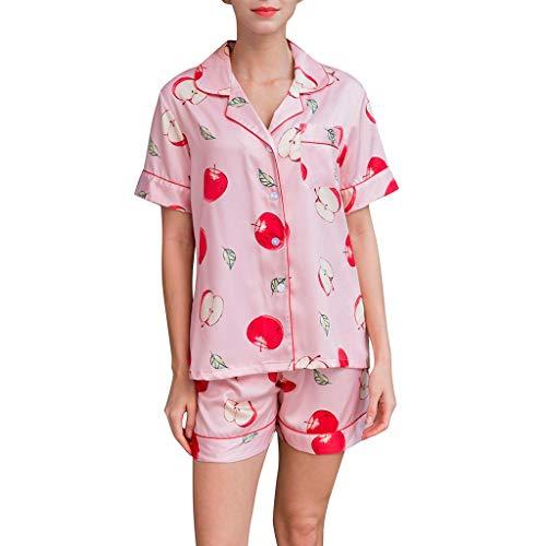 �Dchen Morgenmantel Einfache Studentenparty Koreanische Version Von Pyjamas Nach Hause Kleidung Split Body Pants Knopf Tasche Anzug Apfel Druck ()