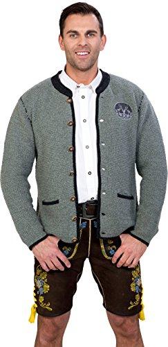 Almwerk Herren Trachten Strick Jacke Modell Ludwig, Größe Herren:58 - 4XL - Bundweite 105-109 cm;Farbe:Hellgrau