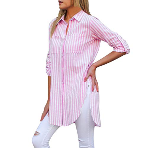 NPRADLA 2018 Damen Mode Gestreifte Langarm Knopf Taschen lose beiläufige Bluse Shirt Tops -