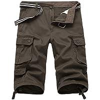 Männer Casual Twill 3/4 Cargo-Shorts Locker Geschnittene Multi-Pocket-Capri Lange Shorts Hosen