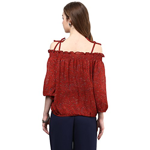 Rare Rust Red Printed Off-Shoulder Blouson Top (EP1001A)
