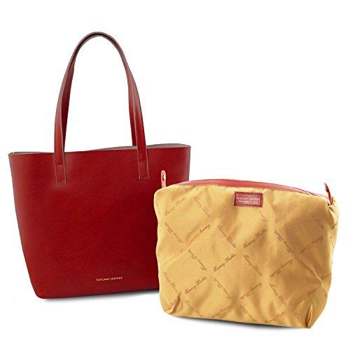 Tuscany Leather Ilaria Tasche aus Leder mit herausnehmbarer Innentasche Schwarz Rot