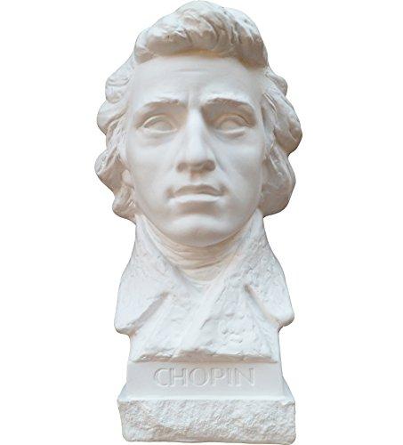 Gipsmanufaktur Büste Komponist Chopin 21 cm weißer Alabastergips