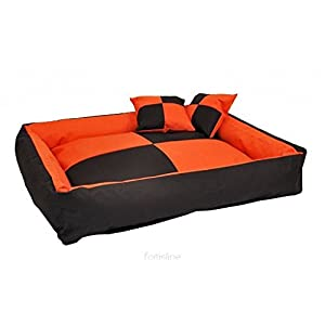Gorgeous Quilted Reversible Ultra Soft Dual Sofa-Style Dog Bed with 2 Extra Pillow (Orange,Black)-Small