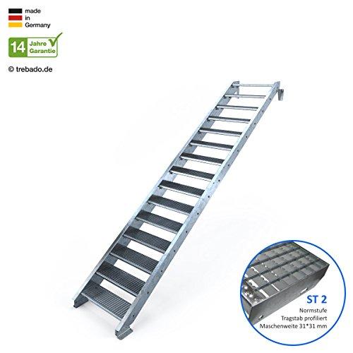 Außentreppe 15 Stufen 80 cm Laufbreite - ohne Geländer - Anstellhöhe variabel von 250 cm bis 300 cm - Gitterroststufe ST2 - feuerverzinkte Stahltreppe mit 800 mm Stufenlänge als montagefertiger Bausatz