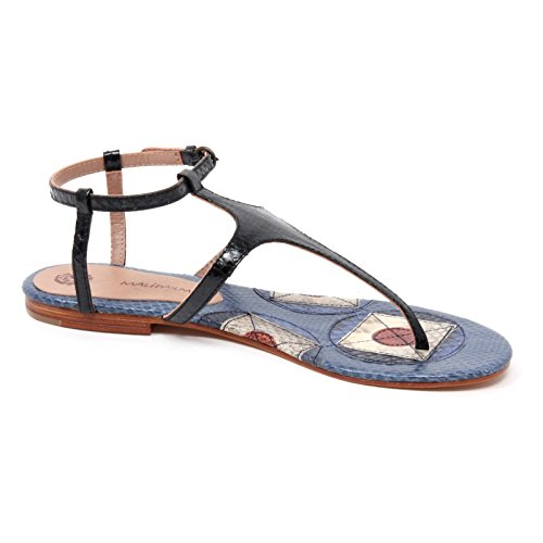 B4962 infradito donna MALIPARMI GEOMETRIC WHIPS sandalo nero/blu shoe woman Nero/Blu
