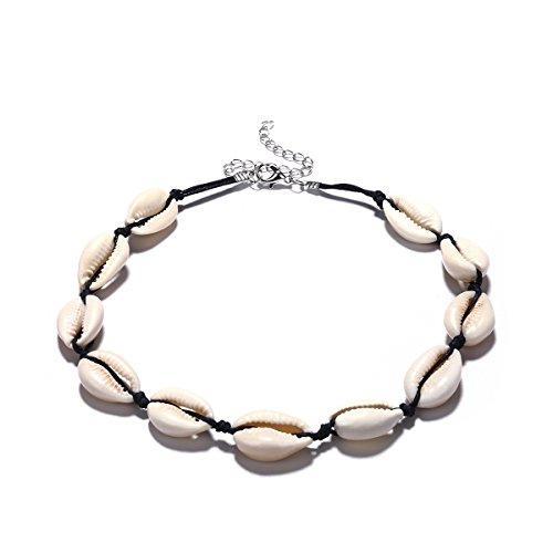 Donne boemia shell string collane catena collane sweet cute (nero)