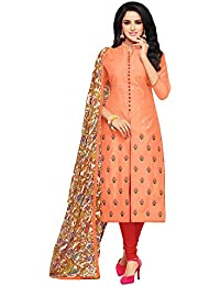 Applecreation Women's Cotton Chanderi Salwar Suits Material (Peach_Salwar Suit_21DMK629_Free Size)