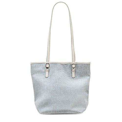 TAMARIS IVY Damen Handtasche, Mini Shopper, Kroko-Optik, 3 Farben: light grey, light blue oder candy light blue