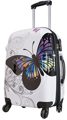 Bowatex Butterfly Valise rigide Motif : papillons Taille L Blanc
