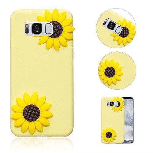 (Galaxy S8 Hülle, QianYang TPU Silikon 3D Cartoon Schutzhülle für Samsung Galaxy S8 Handyhülle Dünn Case Cover Handy Schutz Tasche Schale Bumper - Sonnenblume Sunflower)